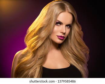 Beautiful hair woman blonde perfect hairstyle beauty healthy hair model cosmetic concept