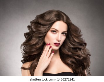 Beautiful hair woman brunette long hair cosmetic concept