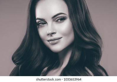 Beautiful hair woman curly hair and beauty face black and white