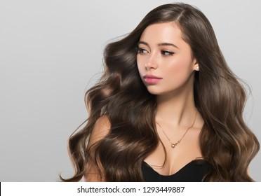 Beautiful hair woman long brunette healthy hairstyle beauty model
