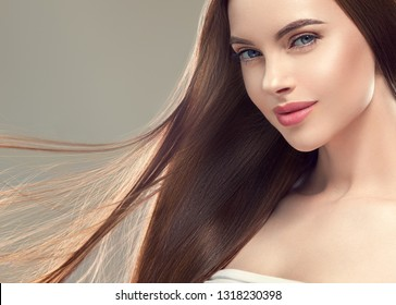 Beautiful hair woman long brunette smooth hairstyle healthy beauty skin