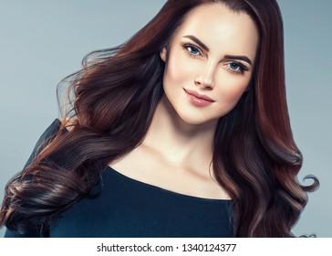Beautiful hair woman long brunette hairstyle female portrait