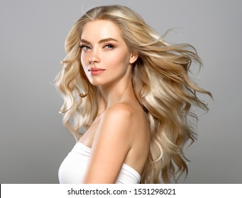 Beautiful hair woman long healthy hairstyle young happy model