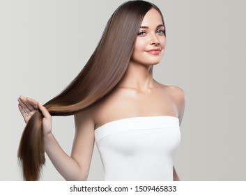Beautiful hair woman long smooth hairstyle beauty concept