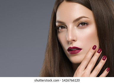 Beautiful hair woman makeup cosmetic concept model face close up healthy skin and hair