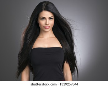 Beautiful hair woman smooth long hairstyle brunette female young healthy hair beauty model