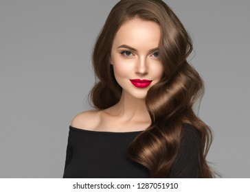 Beautiful hair womanwith long brunette hair beauty healthy hairstyle