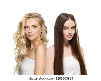 Beautiful hair women group beauty concept woman with long hairstyle different color and fashion isolated on white. Curly and smooth brunette and blonde hair model