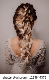 Beautiful Hairstyle of Bride. Fashion Dress and Coiffure. Shatush, Balayage, Ombre Hair. Close Up of Hairdo