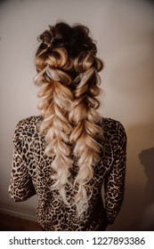 Beautiful Hairstyle. Fashion Clothes and Coiffure. Shatush, Balayage, Ombre Hair. Close Up of Hairdo. Back View
