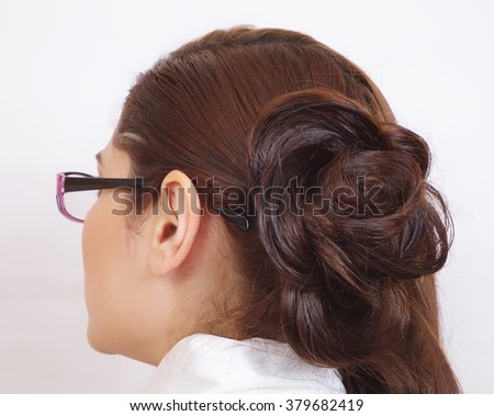 Beautiful Hairstyle Suitable Office Closeup Stock Photo