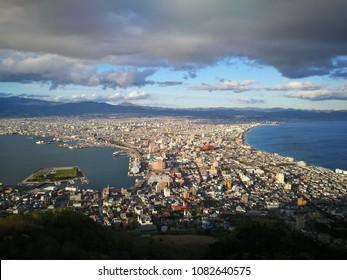 Beautiful Hakodate City view from Mountain Hakodate, Hokkaido, Japan