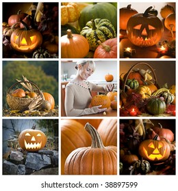 Beautiful halloween collage made from nine photographs