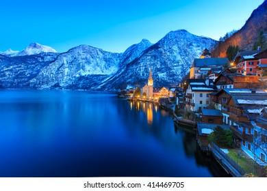 beautiful Hallstatt lake at twilight time