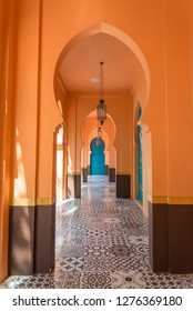 Beautiful hallway corridor Morocco architecture style. Lamp, tile and painting are unique Morocco style.
