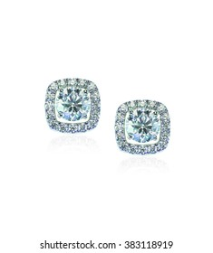 Beautiful Halo Diamond Stud earrings with reflection isolated on white