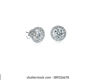 Beautiful Halo Diamond Stud earrings isolated on white