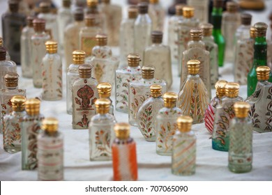 Beautiful, hand decorated glass vials, displayed for sale at a public market in Jaisalmer, in northwestern India.