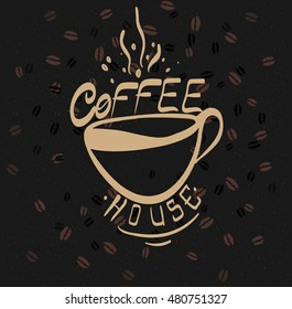 Beautiful hand drawn graphic fashion illustration: cup of coffee. Raster illustration for your application , project