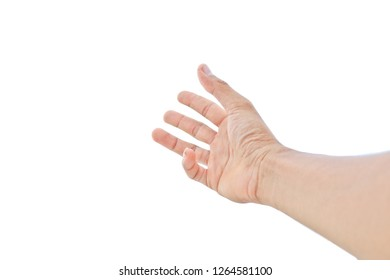 beautiful hand holding something like a open and ready help or receive isolated on white background with clipping path