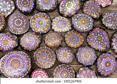 Beautiful hand painted acrylic mandala stones.