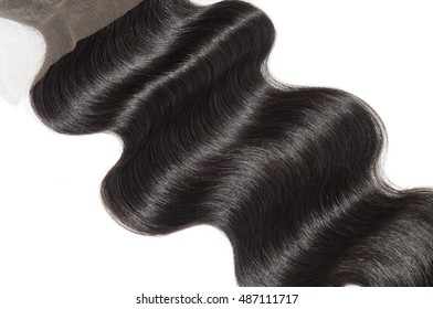 Beautiful hand tied natural black human hair free part body wave lace closure for wigs hair extensions