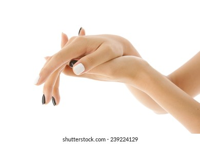 Beautiful hand of young woman, beauty care gesture