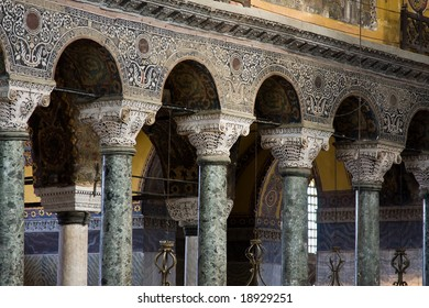 Beautiful handcrafted pillars and arches in Hagia Sophia, Istanbul, Turkey