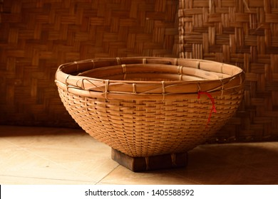 Beautiful handmade bamboo mat and basket used in assamese tradition