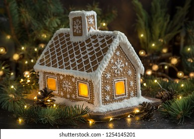 beautiful handmade gingerbread house for Christmas and New Year, dark backround, selective focus