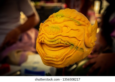 A beautiful handmade pumpkin Carving kind of Thai drama Hanumans mask.  Khon is a noble Thai art of elegance. Elegant and delicate One type of dance performance based on drama.