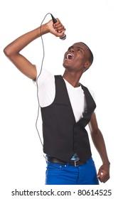 beautiful and handone black man singing