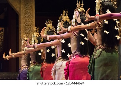 Beautiful hands of Apsara Khmer dance depicting the Ramayana epic. Siem Reap, Cambodia.