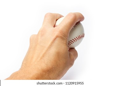beautiful in the hands of a baseball on a white background myach