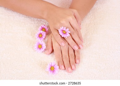 beautiful hands with pink flower - beauty treatment