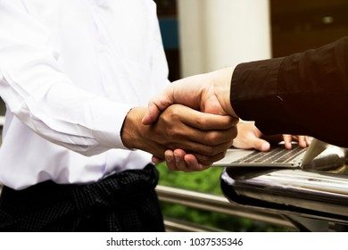 Beautiful handshake business close up concept.