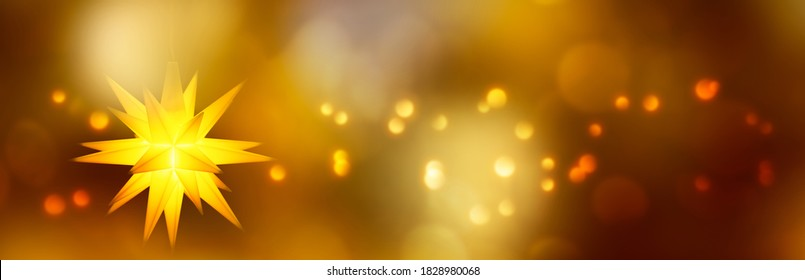 beautiful hanging christmas star with xmas lights on abstract shiny background, x-mas concept with copy space