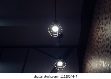 Beautiful hanging interior ceiling lights isolated object unique photograph