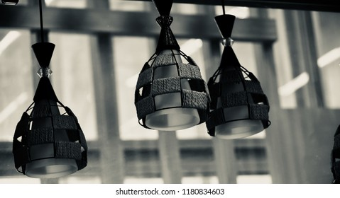Beautiful hanging interior lights isolated unique photograph