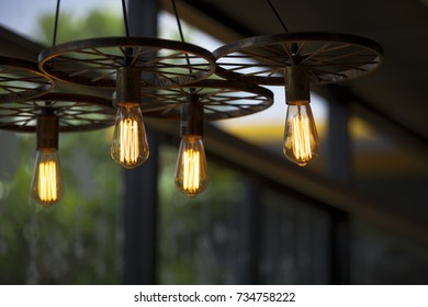 beautiful hanging tungsten light bulbs chandelier decoration, vintage style