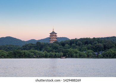 beautiful hangzhou west lake scenery, famous leifeng pagoda in nightfall