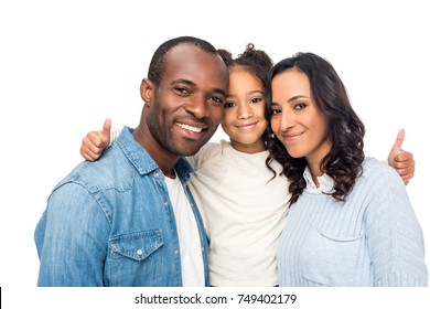 beautiful happy african american family with one child showing thumbs up isolated on white