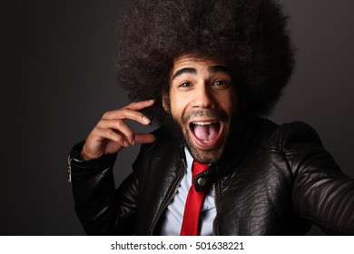 Beautiful happy afro man