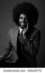 Beautiful happy afro man