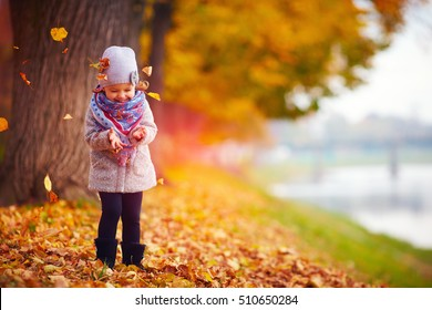beautiful happy baby girl having fun in autumn park