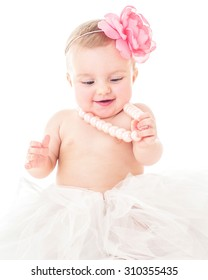 Beautiful happy baby. Baby girl. One, isolated on white.