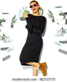 beautiful happy cute smiling brunette woman girl in casual black hipster summer dress clothes with red lips holding euro banknotes and flying dollars  isolated on white