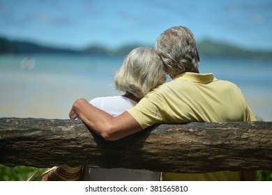 Beautiful happy elderly couple on beach at tropical resort,back view