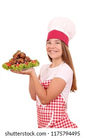 beautiful happy girl cook with meatballs