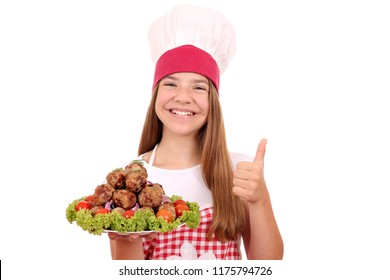 beautiful happy girl cook with meatballs and thumb up